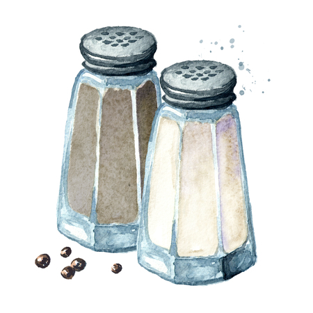 Salt and pepper. Watercolor hand drawn illustration, isolated on white