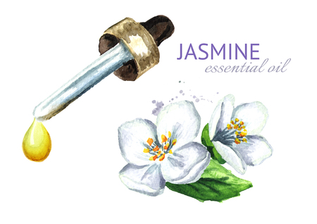 White jasmine flower and essential oil drop. Spa and aromatherapy. Stock Photo