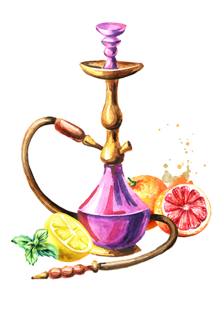 Colorful hookah with grapefruit, lemon and mint.