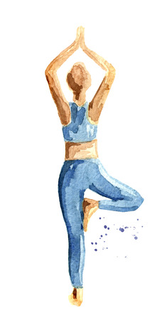Yoga concept.  Tree pose. Woman practice.
