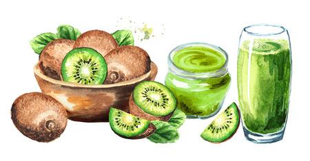 Ripe kiwi fruits, juice and jam.