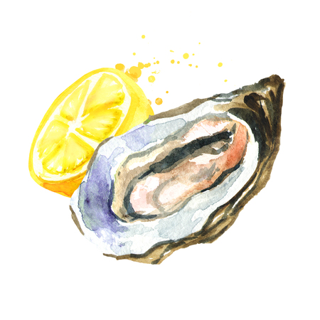 Oyster with lemon. Watercolor hand drawn illustration, isolated on white Reklamní fotografie