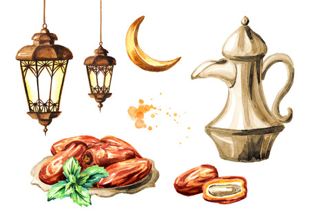 Ramadan Kareem Iftar party celebration set. Traditional teapot with Dried Date fruits in the bowl and lantern. Watercolor hand drawn illustration isolated on white background