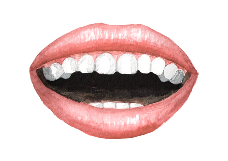 Open smiling pink lips with Nude lipstick and white teeth. Watercolor hand drawn illustration, isolated on white background