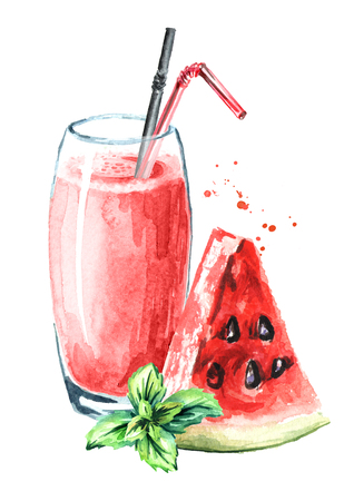 Watermelon smoothies with mint. Watercolor hand drawn illustration, isolated on white background