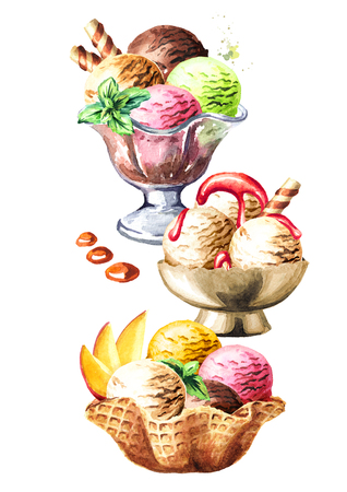 Ice cream variation card. Watercolor hand drawn illustration  isolated on white background Banco de Imagens
