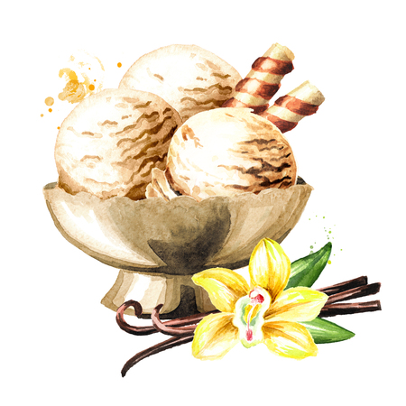 Vanilla ice cream in thr bowl. Watercolor hand drawn illustration, isolated on white background