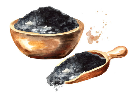 Natural charcoal powder set. Watercolor hand drawn illustration  isolated on white background