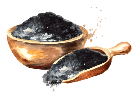 Natural charcoal powder. Watercolor hand drawn illustration  isolated on white background Фото со стока