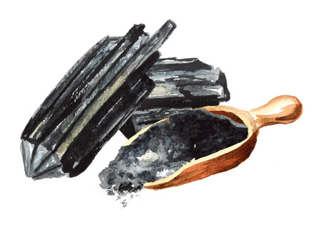 Natural charcoal. Large pieces and powder. Watercolor hand drawn illustration  isolated on white background