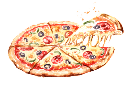 Delicious fresh hot pizza. Watercolor hand drawn illustration, isolated on white background Reklamní fotografie