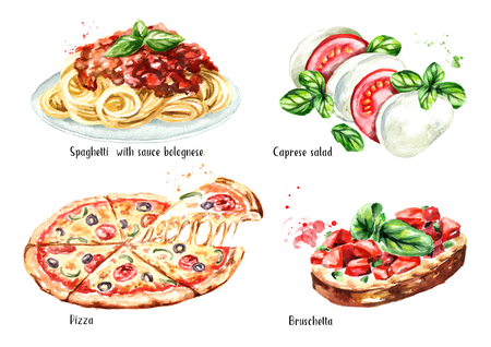 Italian food set. Pizza, spaghetti with sause bolognese, Caprese salad, Bruschetta Watercolor hand drawn illustration isolated on white background
