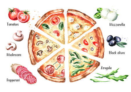 Slices of pizza with different toppings and ingradients, top view. Watercolor hand drawn illustration, isolated on white background 스톡 콘텐츠