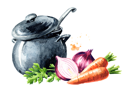 Pan with broth and fresh vegetables onions, carrots and greens. Watercolor hand drawn illustration, isolated on white background