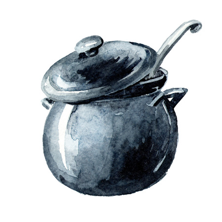 Pan. Watercolor hand drawn illustration, isolated on white background