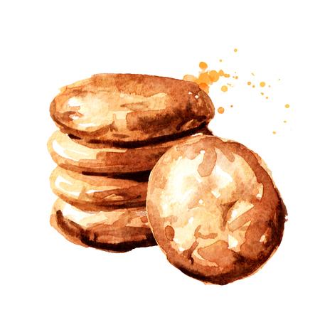 Oat cookies Watercolor hand drawn