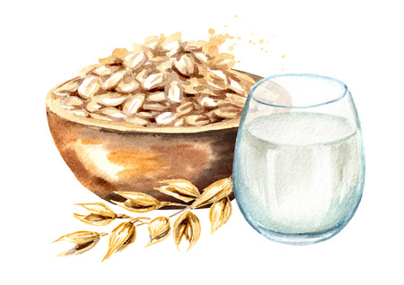 Oat flakes in bowl, ear of oat and glass of milk.