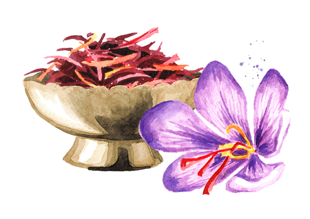 Dried saffron spice  in bowl and a flower. Watercolor hand drawn illustration, isolated on white background