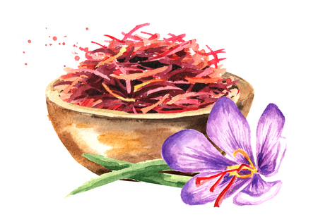 Dried saffron spice  in wood bowl and a flower. Watercolor hand drawn illustration, isolated on white background