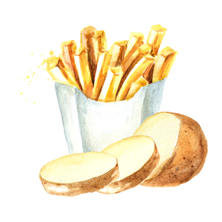 French fry stick potato with cut raw potatoes vegetables. Watercolor hand drawn illustration isolated on white background Imagens