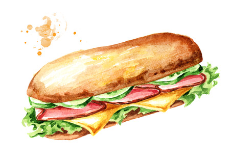 Sandwich with ham and vegetables. Watercolor hand drawn illustration, isolated on white background