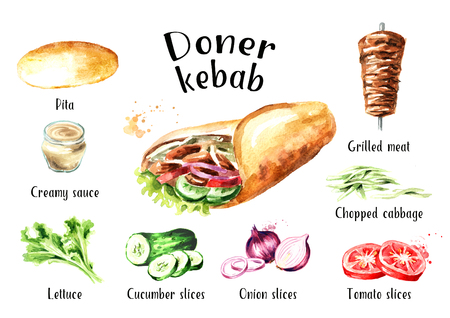 Doner kebab ingredients set. Watercolor hand drawn illustration, isolated on white background
