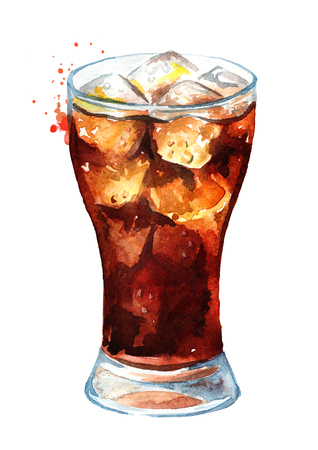 Drink Cola in glass with  ice cubes. Watercolor hand drawn illustration, isolated on white background Foto de archivo