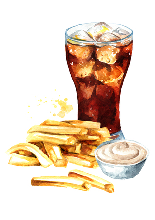 French fry stick potato with sauce and glass of cola drink. Fast food concept. Watercolor hand drawn illustration isolated on white background Imagens
