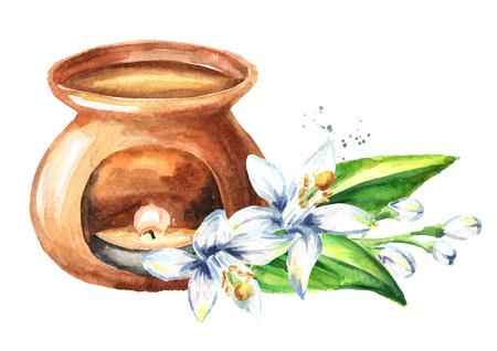 Neroli essential oil and aroma lamp. Foto de archivo
