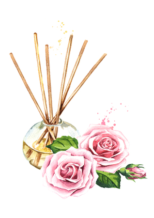 Rose liquid in a glass bottle with sticks and a flower. Banco de Imagens