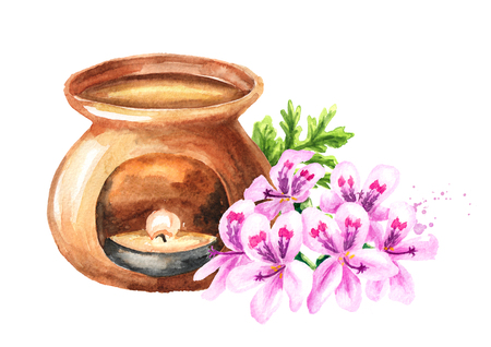 Pelargonium graveolens or Pelargonium x asperum, geranium flower essential oil and aroma lamp. Watercolor hand drawn illustration isolated on white background