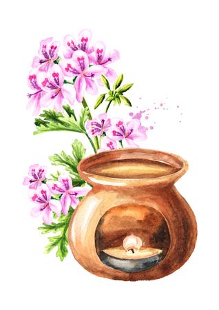 Pelargonium graveolens or Pelargonium x asperum, geranium flower essential oil and aroma lamp. Watercolor hand drawn illustration, isolated on white background Stock Photo