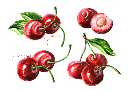 Cherry. Ripe cherries set. Watercolor hand drawn Stock fotó - 123823576