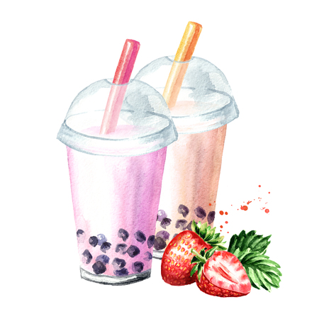 Fruit Milky Bubble Tea. Food concept. Watercolor hand drawn illustration isolated on white background
