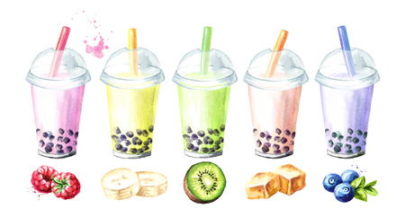 Refreshing fruit milky bubble boba tea flavors with tapioca pearls. Food concept. Watercolor hand drawn illustration, isolated on white background Banque d'images
