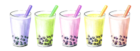 Refreshing fruit milky bubble boba tea with tapioca pearls. Food concept. Watercolor hand drawn illustration, isolated on white background Reklamní fotografie