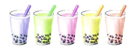 Tè boba rinfrescante alla frutta con bolle di latte e perle di tapioca. Concetto di cibo. Illustrazione disegnata a mano dell'acquerello, isolata su fondo bianco Archivio Fotografico
