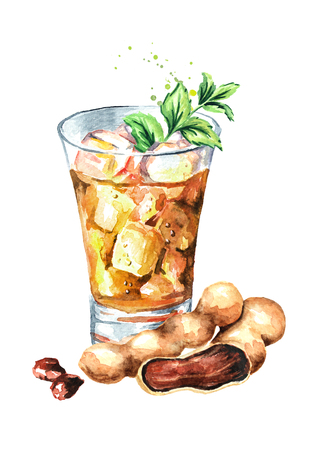 Fresh tamarind juice with ice and mint leaves and tamarind fruit. Watercolor hand drawn horizontal illustration, isolated on white background