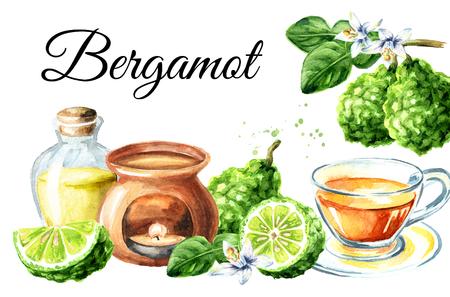Fresh bergamot fruit, tea and essential oil card. Watercolor hand drawn illustration,  isolated on white background Standard-Bild - 124397982