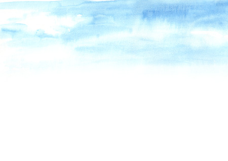 Blue sky. Watercolor hand drawn illustration Banco de Imagens