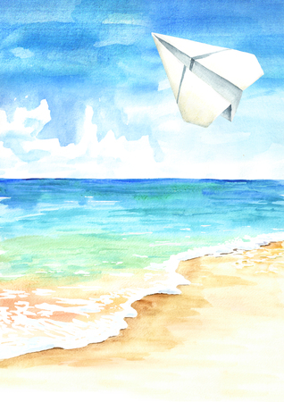 Paper plane in the blue sky over the sea and beach, Travel concept Watercolor hand drawn illustration  background Standard-Bild - 124397992