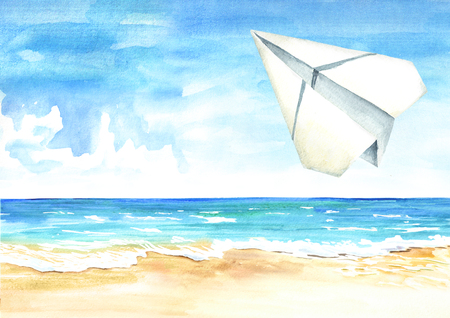 Paper plane in the blue sky over the sea and beach, Travel concept. Watercolor hand drawn illustration  background Standard-Bild - 124397993