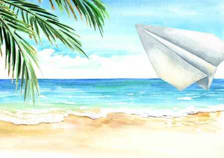 Paper plane in the blue sky over the sea and beach, Travel concept. Watercolor hand drawn illustration and background