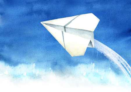 Paper plane in the blue sky, Travel concept, Watercolor hand drawn illustration  background Standard-Bild - 124397994