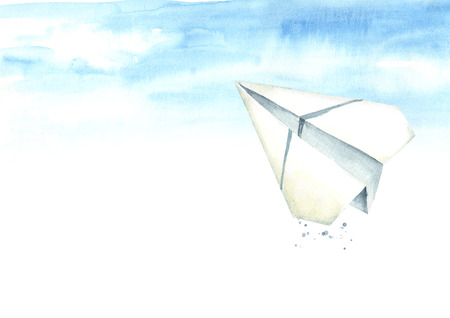 Paper plane in the blue sky. Travel concept. Watercolor hand drawn, illustration isolated on white background Standard-Bild - 124398006