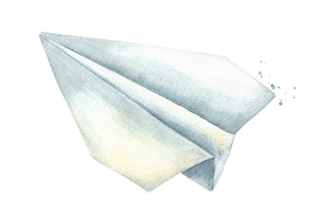 Paper plane. Graphic design element. Watercolor hand drawn illustration isolated on white background Standard-Bild - 124398007
