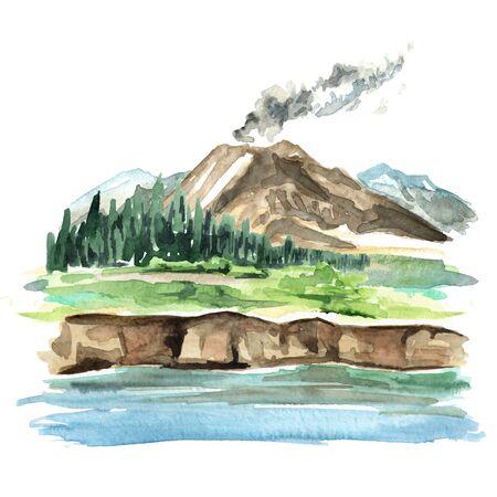 Landscape with active volcano, Watercolor hand drawn 版權商用圖片