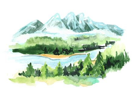 Landscape with mountains. Watercolor hand drawn