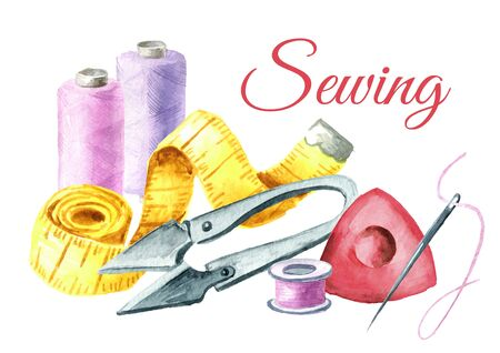 Sewing concept, spool of thread, scissors, measuring tape. Watercolor hand drawn illustration isolated on white background Banque d'images