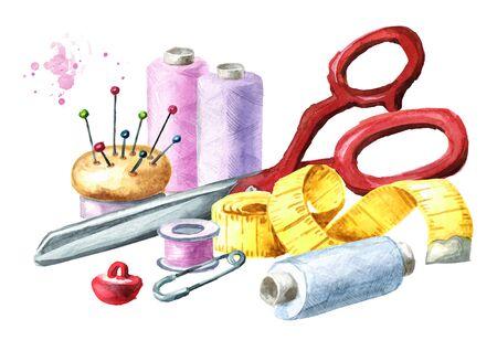 Forniture per cucire, rocchetto di filo, spilli, forbici, metro a nastro e bottone. Illustrazione disegnata a mano dell'acquerello isolata su fondo bianco Archivio Fotografico